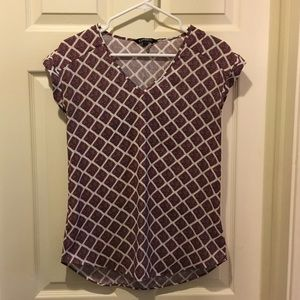 Express Red and White Patterned Blouse, Size S